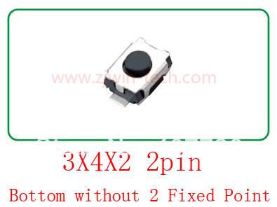 Free shipping 100pcs/lot switch 12V push button switch momentary tact switch 2pin 3X4X2mm(China (Mainland))
