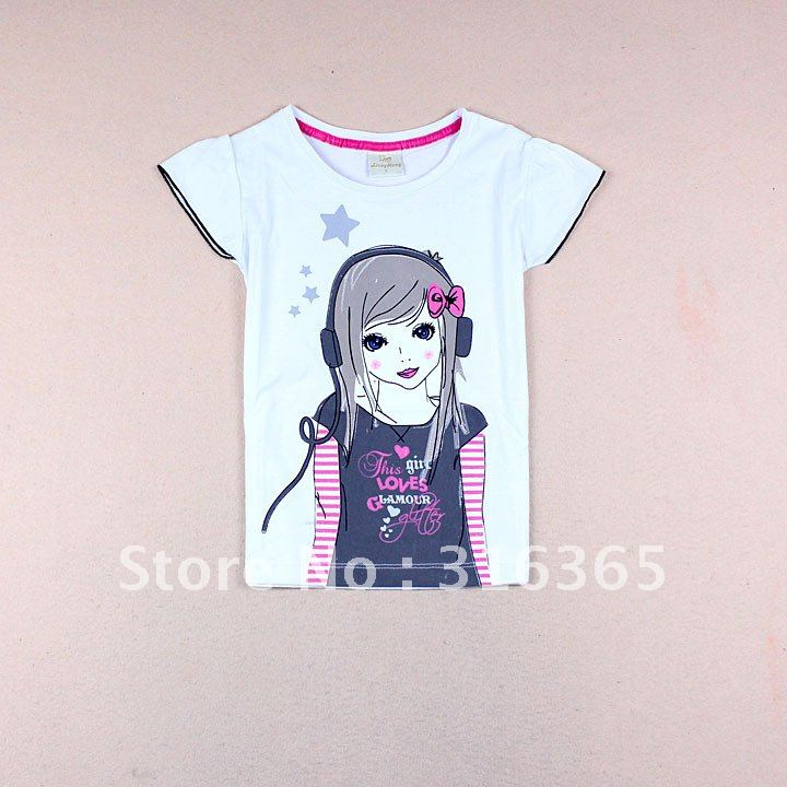 Free shipping cute girls t shirt girls 39 tee puff sleeve Girl t shirts design