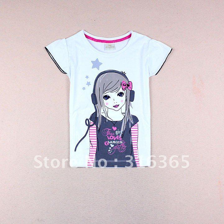 Free shipping cute girls t shirt girls 39 tee puff sleeve Girl t shirts design