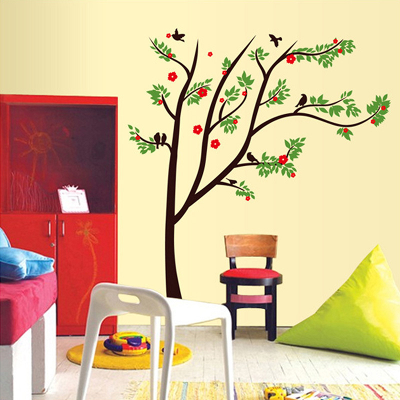 Colorful 3d diy tree pvc wall decals adhesive family wall for Diy family tree wall mural