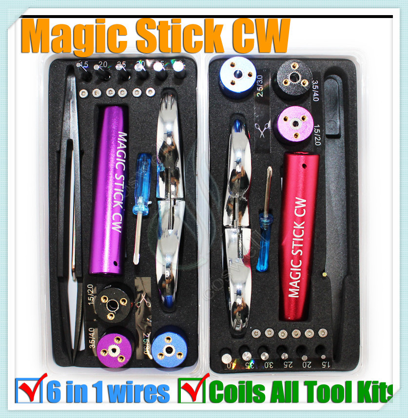 10pcs Magic stick CW tool coil jig kit 6 size in 1 wire coiling machine tool koiler kit Wire Wick Tool e cigarette Accessories(China (Mainland))