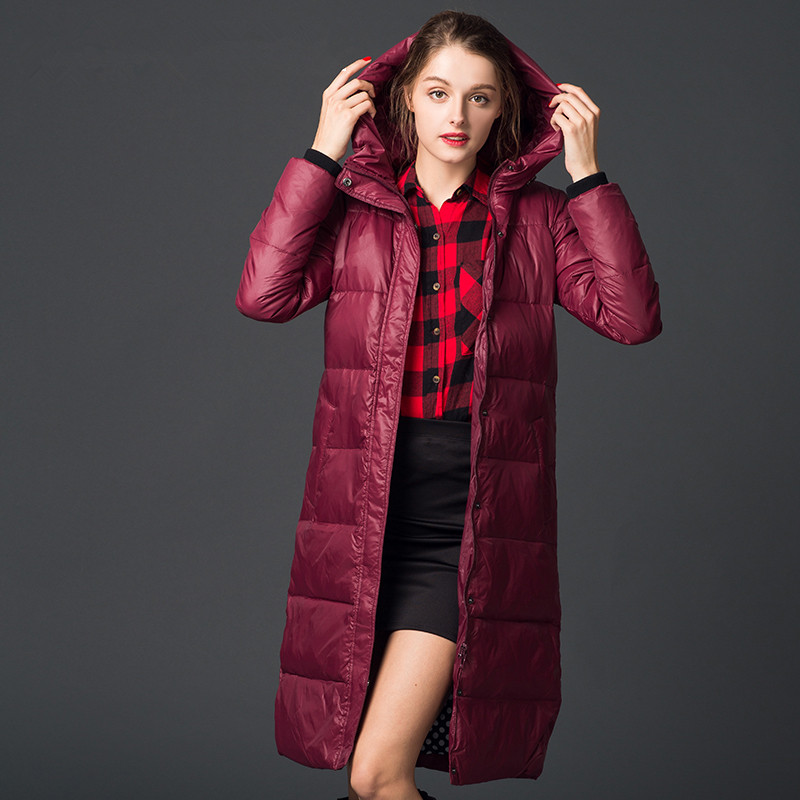 New Women Winter Thick Jackets Coat Down Knee X-Long Female Overcoat Hooded Down Padded Slim Warm Down Parka Plus Size LQ085