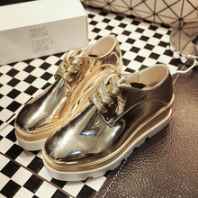 Spring Autumn EU US NEW Tide Star Women PU Leather Shoes Black Gold Sliver Bling Lace Up Rubber Trifle Bottom Casual Flat Shoes