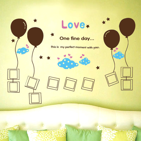 150*80cm The Balloon Photo Baby love DIY Removable Art Vinyl Wall Stickers Decor Mural Decal Free Shipping(China (Mainland))