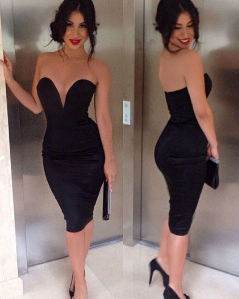 Black Strapless Pencil Dress  Cocktail Dresses 2016
