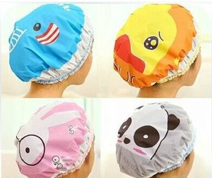 Shower Caps Limited Cleaning 2015 New Shower Cap Waterproof Environmental For Lace Elastic Band Hat Bath Cute Cartoon(China (Mainland))