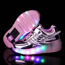 ורוד זהב ילדי זוהר סניקרס ילדים רולר סקייט נעלי ילדי Led אור עד נעלי בנות בני סניקרס עם גלגלים Heelies(China)
