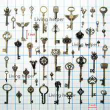 50x Antique Vtg Old Look Decor Skeleton Key Pendant Bow Steampunk Charms Jewelry(China (Mainland))