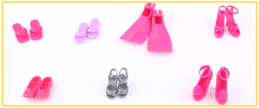 UCanaan Random Decide A Lot = 30 Pairs Authentic Footwear for Barbie Excessive High quality Combine Model Combine Colour Footwear Equipment Doll Wholesale