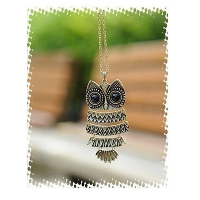 Sunshine vintage owl pendant necklace Retro jewelry  Ancient bronze silver big eyes owl necklace long sweater chain punk women