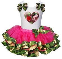 Camo Hot Pink Satin Trimmed Tutu With Heart , Cupcake , Rhinestone Tee Party Dress 1-6Y(Hong Kong)