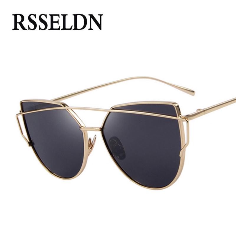 RSSELDN Newest Fashion Cat Eye Sunglasses Women Luxury Brand Retro Style Sun glasses Female Pink Mirror oculos de sol feminino