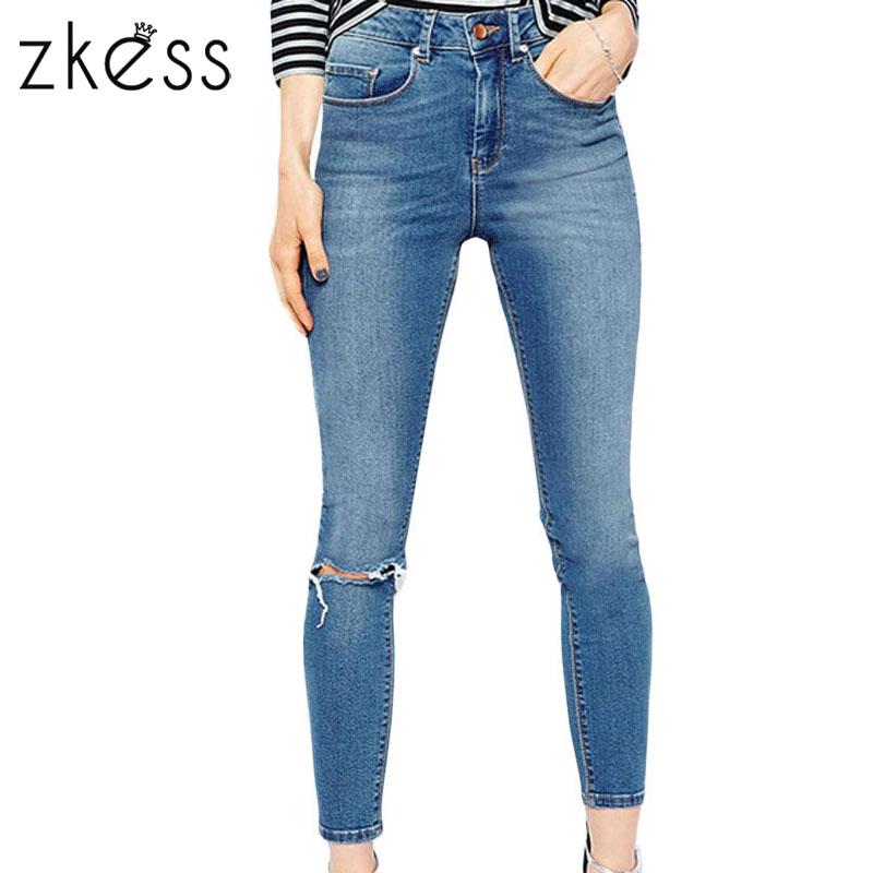 Zkess Light Blue Slit Knee Tight-fitting Jeans 78625Одежда и ак�е��уары<br><br><br>Aliexpress