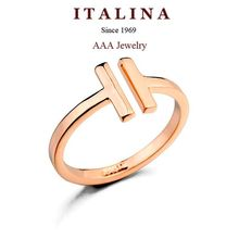 New 2015 Rose/White Gold Plated Letter H Shaped Open Ring For Women/Girls ITALINA Rigant Brand Fashion Party Jewelry(China (Mainland))
