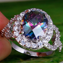 Remarkable Classic Style Women Rings Mysterious Rainbow Topaz 925 Silver Ring Oval Cut Size 8 Wholesale Free Shipping