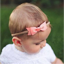 1 PC Boutique Two Layers Grosgrain Ribbon Headband For Newborn Toddler Baby Girls Elastic Bow Hair Band Head Accessories(China (Mainland))