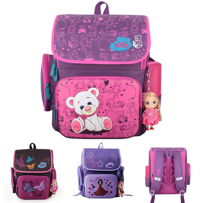 Cartoon Bear Backpack School Satchel Children School Bags Orthopedic Waterproof Backpacks Girls School Backpacks mochila escolar(China (Mainland))