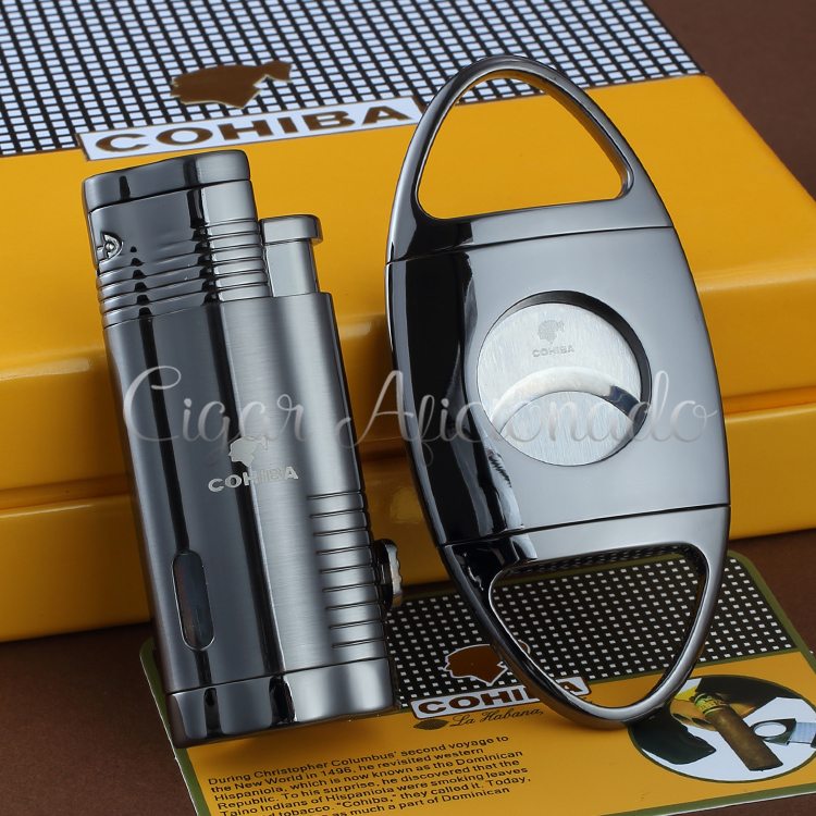 COHIBA Metal Butane Gas Windproof Triple Torch Jet Flame Cigarette Cigar Lighter W Cigar Punch Stainless Steel Cigar Cutter Set(China (Mainland))