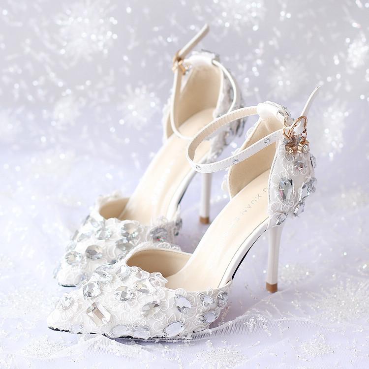 Фотография  New fashion handmade wedding shoes pointed toe thin high heel dress shoes rhinestone chain bridal shoes lace ankle strap pumps