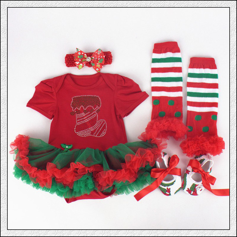 Fashion Cute Girls Baby 0-12Months Personality Cotton Dress Infants Dresses Christmas Gift Stockings Shoes Four Suit(China (Mainland))