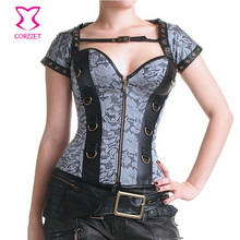 New Grey Jacquard Overbust Sexy Steel Boned Waist Corset Steampunk Corsets And Bustiers Gothic Corpetes E Espartilhos For Women