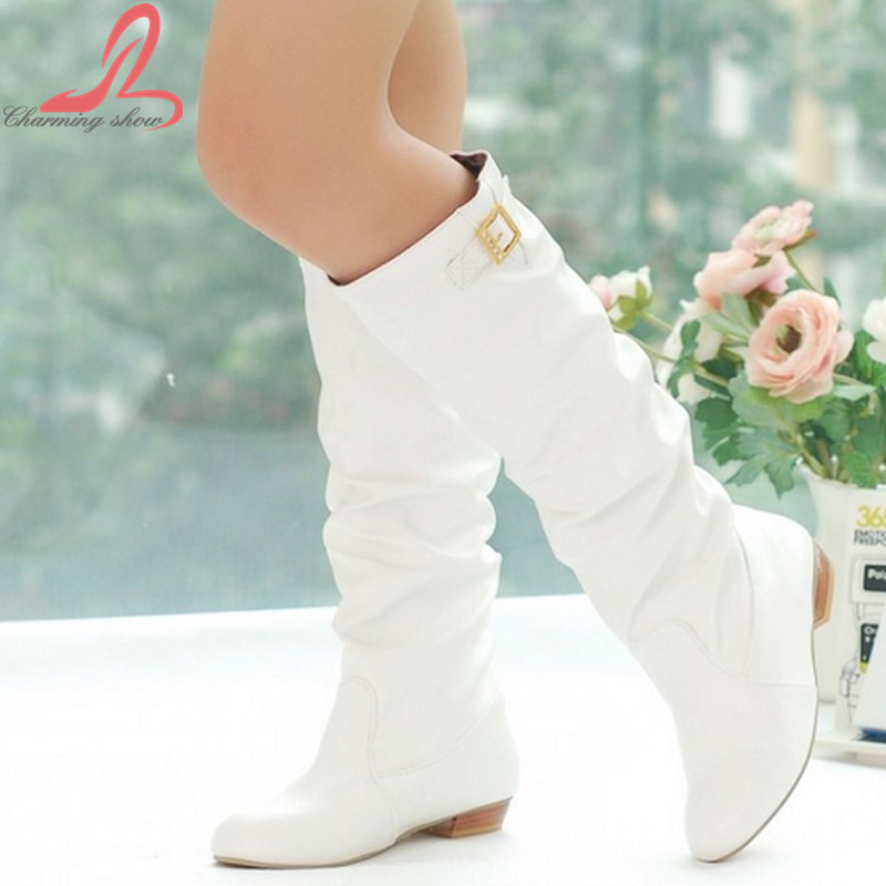 2015 Women Knee High Boots Vintage Low Thick Heel Spring Autumn Shoes Round Toe Less Platform Motorcycle Boots Big Size 34-43(China (Mainland))