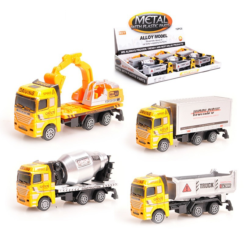 1pc 12cm Toy Truck Models Toys Construction vehicles for Kids Children Play Gift Random Packing(China (Mainland))