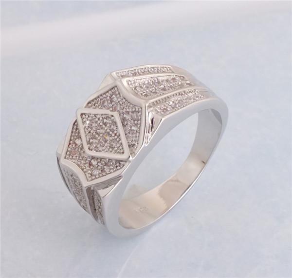 1pc 18K White gold Plated CZ Cubic Zirconia Classic Popular ring Size 9/10/11 - Jiang Xiaobin's store