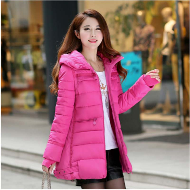 Winter jacket women hooded Long wadded jacket female medium-long casual cotton-padded jacket thickening winter coat women AE832