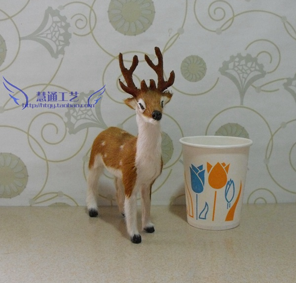Simulation Animals Model Toys little sika home decor/Christmas delicate dollhouse miniatures PVC Dolls Model FUR Pet Puppy Dog(China (Mainland))