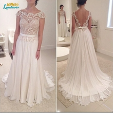 Buy Long Cheap Line Lace Beach Wedding Dresses 2017 chiffon boho wedding gowns Vestido De Noiva open back backless Bride dresses for $112.80 in AliExpress store