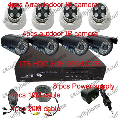 HD 8CH 960H Standalone Digital Video Recorder+4 pcs indoor Array camera+4pcs outdoor camera+power+CCTV BNC cable 1000GB HDD(China (Mainland))