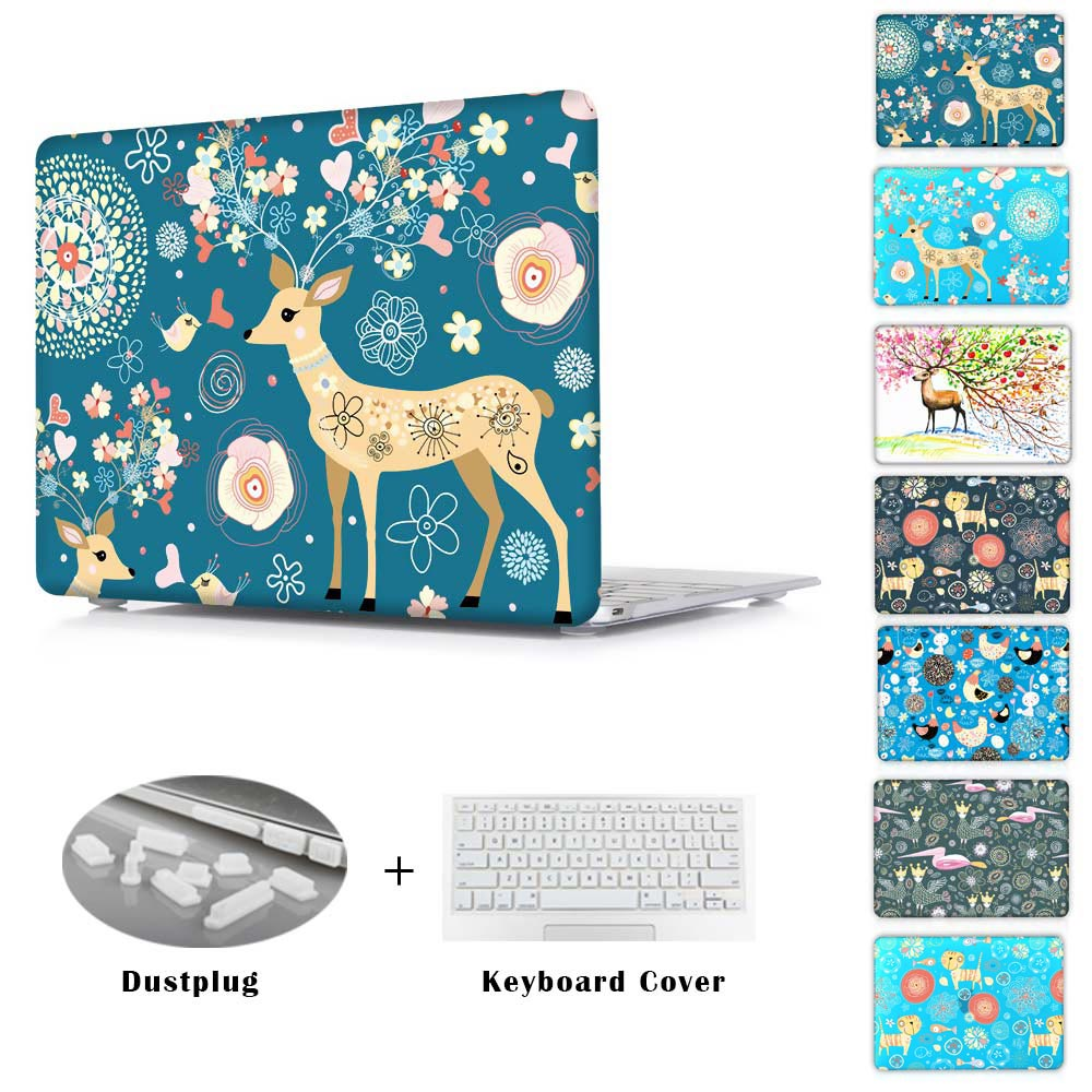 Nice Abulous Flower Deer For New Mac Hard Crystal Sleeve Cases For Macbook AIR 11.6 13.3 PRO RETINA 13 15 NEW 12INCH Cover(China (Mainland))