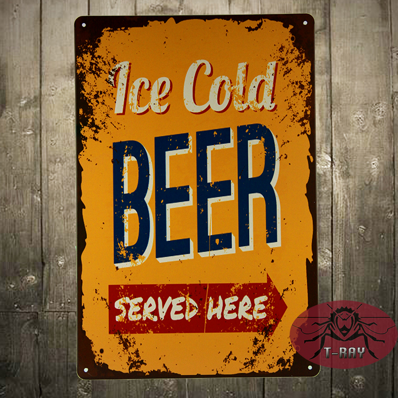 Ice Cold Beer Served Here Tin Sign Metal Wall Decor Bar