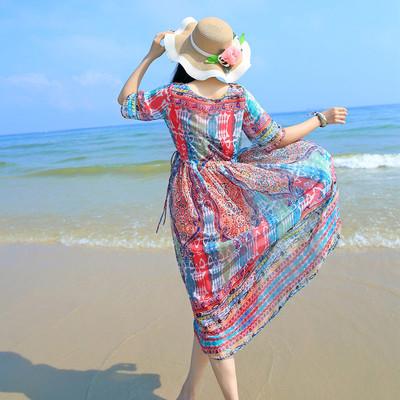 SunVP Summer Women Beach Dress 2016 Blue Cotton Blend Plus Size Korean Style Maxi Dress Bohemian Popular Sexy Beach Dress(China (Mainland))