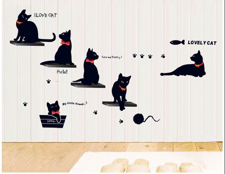 Black Cat and Fish Vinyl Wall Stickers Family Home Nursery Living Rooms Decoration Refrigerator Wall Decals for Kids room(China (Mainland))