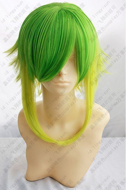 Vocaloid.Gumi,1323,Shaggy layered Fusion Green gold mix short anti alice Cosplay Cos Wig,Artificial Fiber wig.free shipping<br><br>Aliexpress