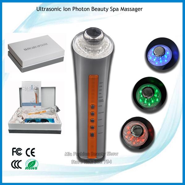 3 Colors LED Lights Phototherapy Facial Skin Tighening Spot Removal Ion Ultrasonic Galvanic Bio Wave Massage Beauty Machine(China (Mainland))