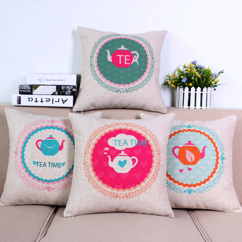 45cm The Fresh Tea Time Fashion Cotton Linen Fabric Throw Pillow Hot Sale 18 Inch New Home Decor Sofa Car Cushion Office Nap FR