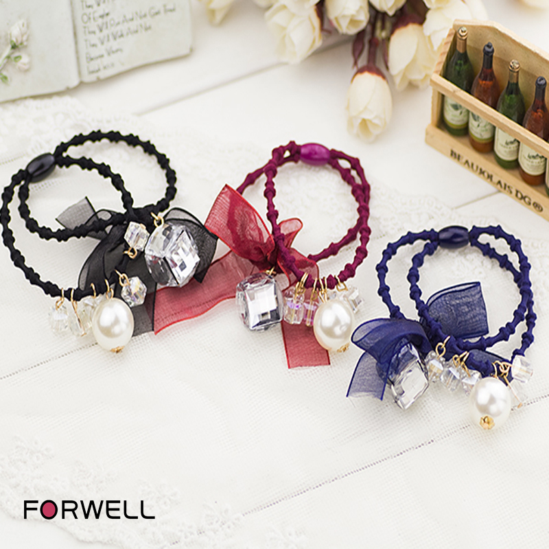 New arrival European style black lace bow rubber band hair ring pearl crystal pendants girls hair rope handmade hair accessories(China (Mainland))