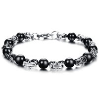 Cool Mens Jewelry Link Chain Bracelets & Bangles Charms Man Bralcelet Stainless Steel Square Buckle W.Black Balls Beads