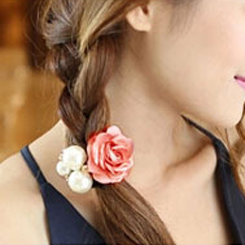 1Pc Pink Color Rose Flower Scrunchie Ponytail Holder Hair Clips For Women Hairdressing Accessories Pearls Elastic Rubber Ring(China (Mainland))