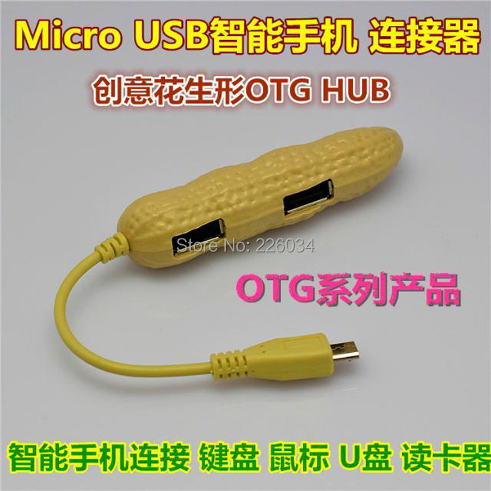 5pcs/lot High quality! Peanut Style Micro USB 2.0 4 Port USB OTG Hub Adapter Connection Kit for OTG Smart Phone/Tablet(China (Mainland))