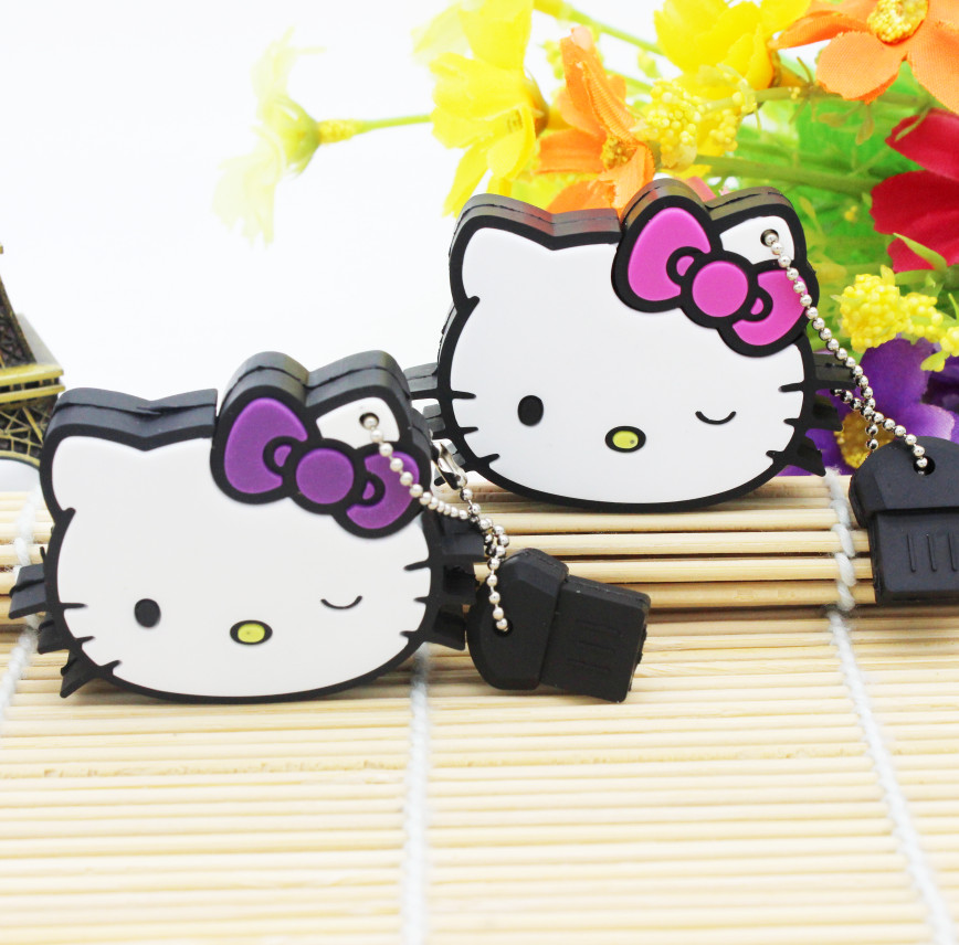 New hello kitty usb flash drive lovely pendrive 4gb 8gb 16gb 32gb memory stick u disk usb 2.0 flash disk thumb drive with chain(China (Mainland))