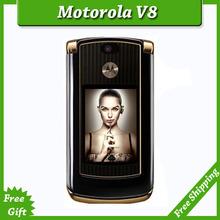 Refurbished luxury version motorola V8 original unlocked GSM mobile phone with english keyboard / russia keyboard simple set(China (Mainland))
