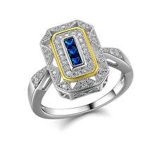 Новый Твердые Стерлингового Серебра 925 Обручальное Кольцо Синий Циркония 3 Цвета Классический Ювелирные Изделия Для Женщин(China (Mainland))