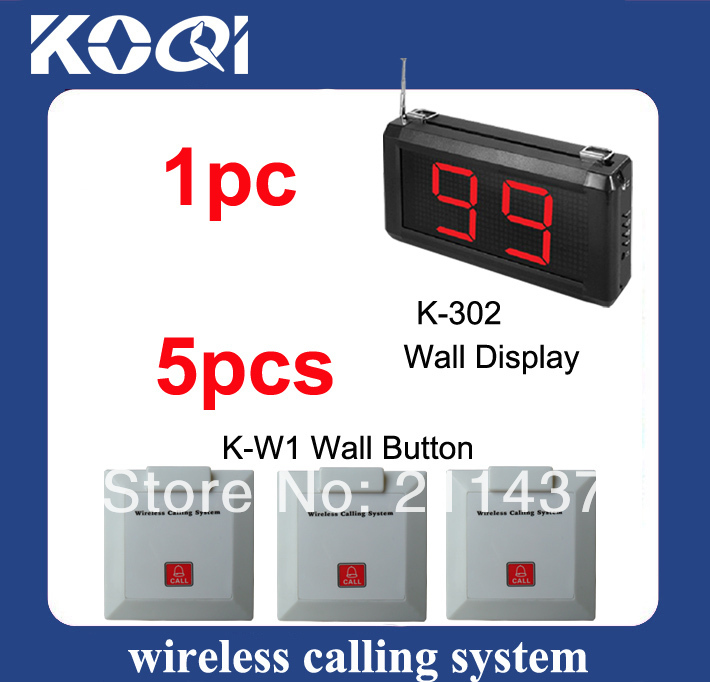 Wireless Services Calling System K-302 display and 5pcs K-W1 Call buttons 315mhz&433mhz DHL free shipping(China (Mainland))