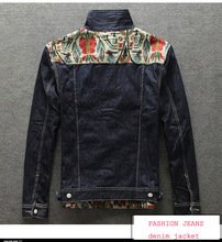 2015 New Arrival Denim Jacket Coat Cotton Popular Brand Print Casual Jackets Men Clothing Denim Jacket