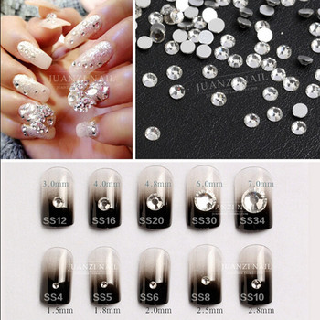 Best rhinestones ss3 -ss40 Crystal Clear Nail Art Non Hotfix Flat Back rhinestones for 3d nail art or diy decorations charms