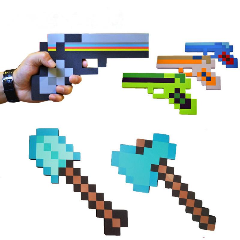 18-46cm New Hot my world gun Toys Foam Diamond Sword Pickax Axe Shovel Gun Game Weapons Model Toy funny Kids toys Birthday Gifts(China (Mainland))